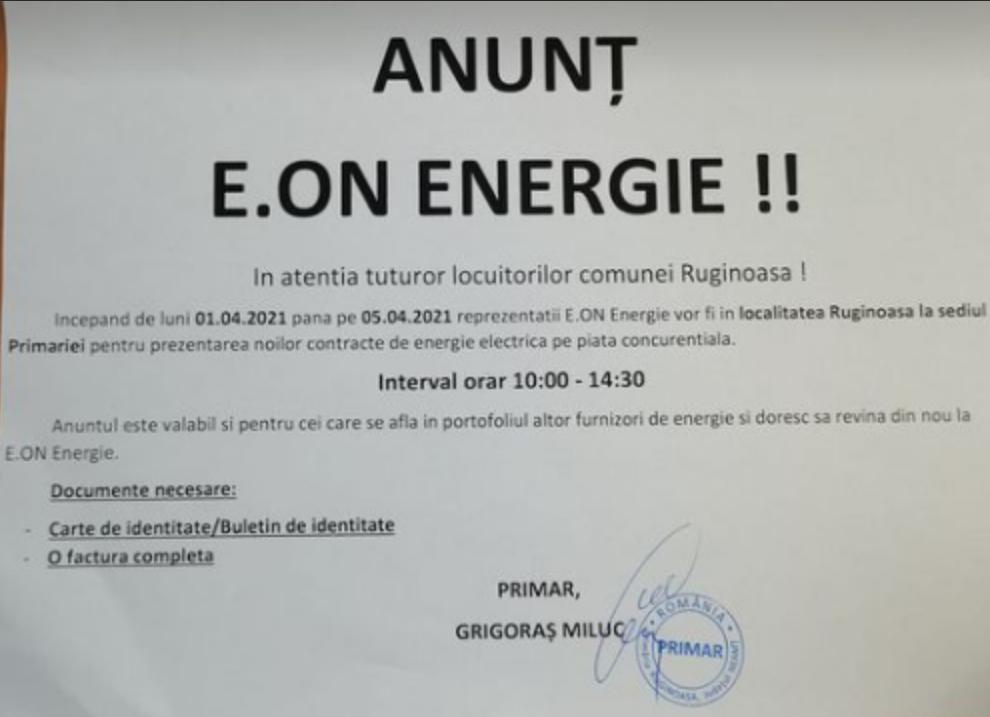 Anunț E.ON ENERGIE, în atenția locuitorilor comunei Ruginoasa